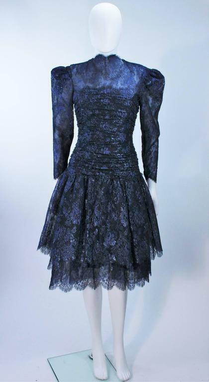 ARNOLD SCAASI Navy Metallic Lace Cocktail Dress S… - image 2