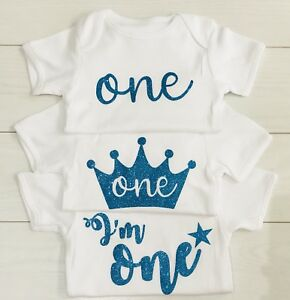 Luxury-Boys-1st-First-Birthday-Top-T-Shirt-Vest-Cake-Smash-Set-Outfit-Blue