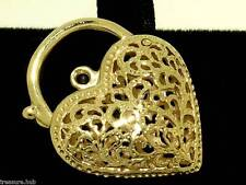 K02  LARGE Genuine 9ct SOLID Yellow Gold FILIGREE Heart PADLOCK Clasp Puffy