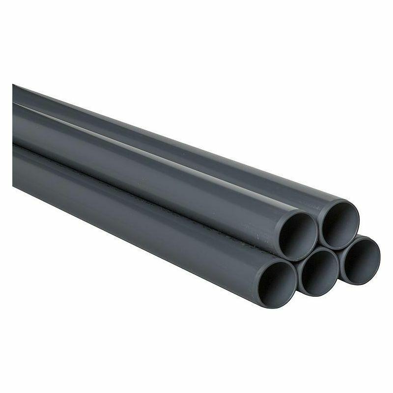 PVC-U Rohr 25 x 1,5 mm 5 m glatt DIN 8061 62 RAL 7011   VPE 50 m