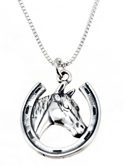 Sterling Silver Horsehead//fer /à cheval Pendentif charme
