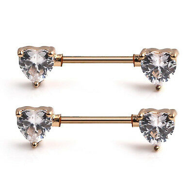 """Details about  /Nipple Shields-PAIR-Heart Center w//Clear Gems 14 Gauge 1//2/"""" Barbell Rose Gold Pl"""
