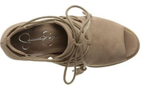 Women/'s Jessica Simpson CERI Peeptoe Bootie Sandal Heels Tassel Suede Warm Taupe