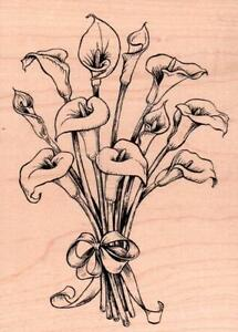 New-ELMORE-INKADINKADO-RUBBER-STAMP-CALLA-LILIES-flower-bouquet-mntd-large