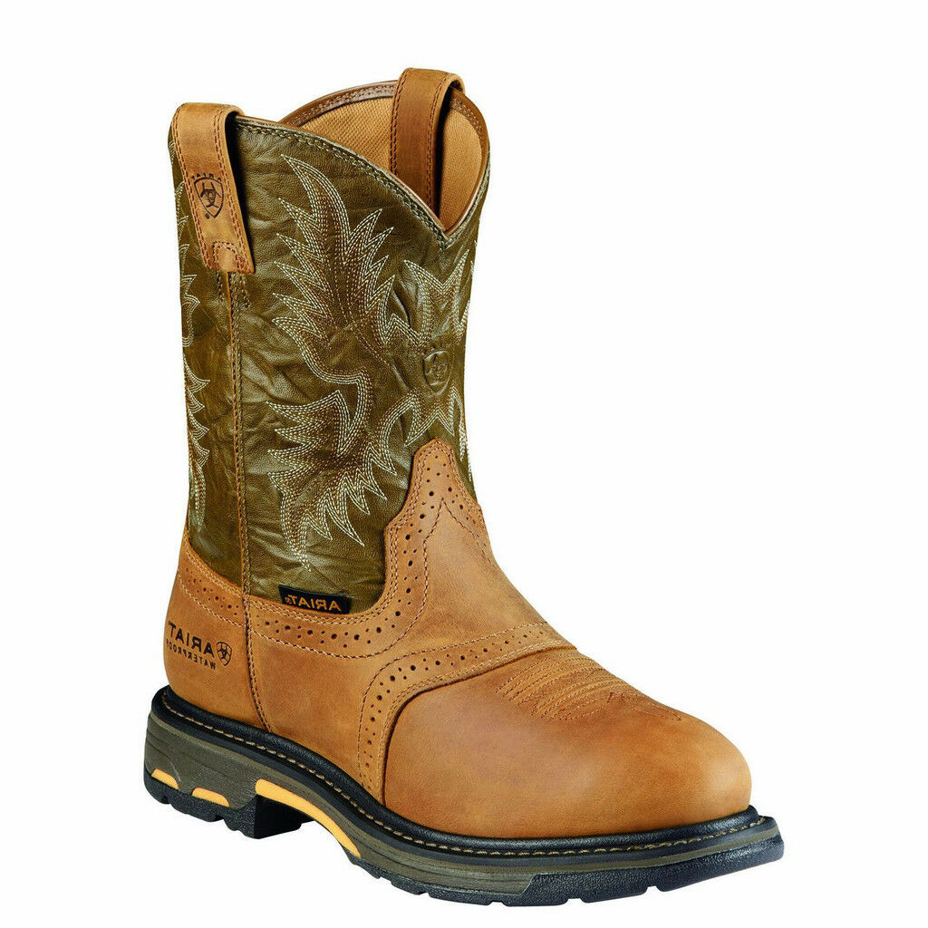 Ariat® Men's WorkHog Pull-On H2O Aged Bark Army Green Boot 10008633