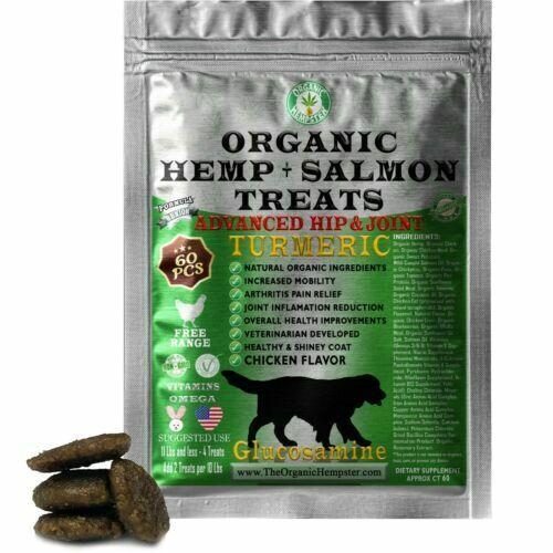 Organic Hemp Treats for Dogs, Turmeric & Glucosamine, 60 Soft Chews