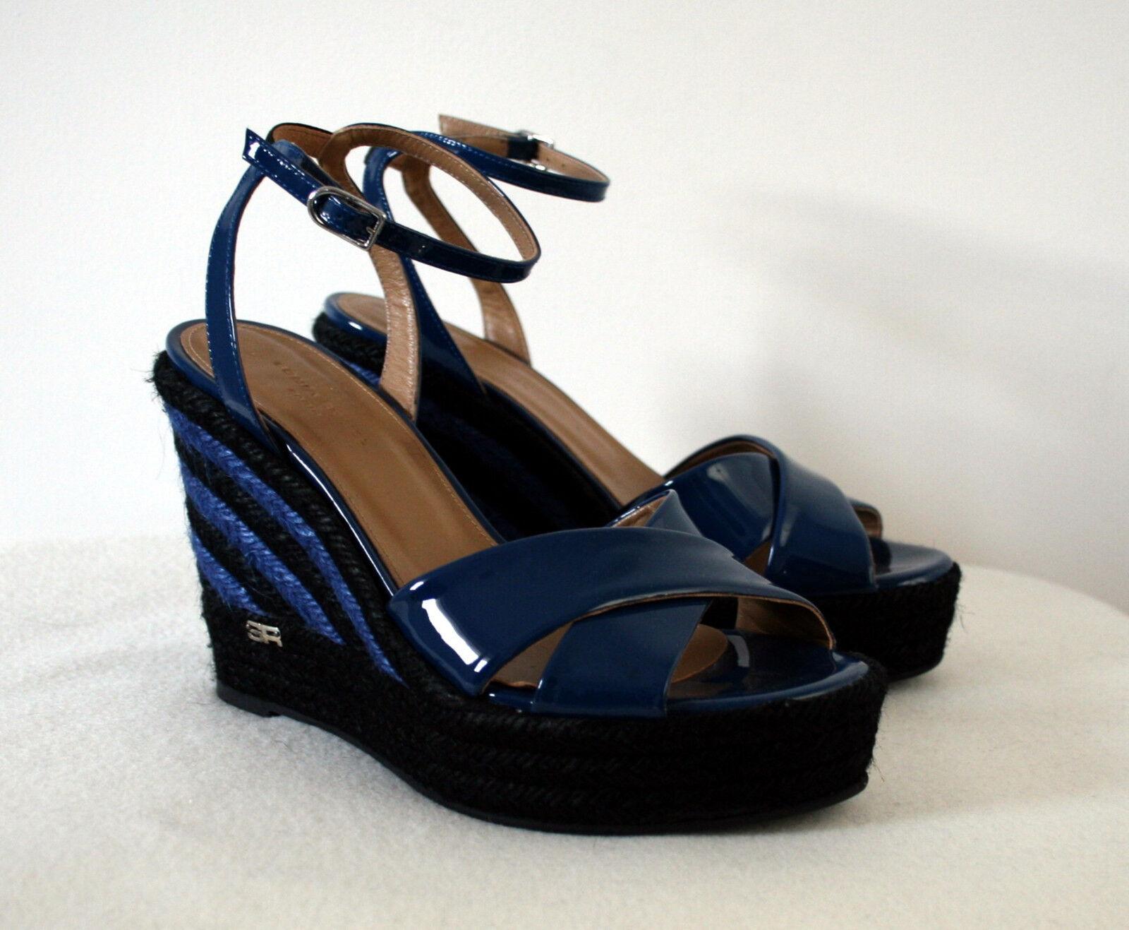 Nuevo Sonia Rykiel Azul Negro Patente Sandalias de cuero () RRP