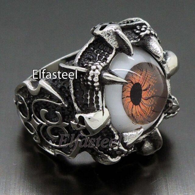 Men Dragon Eye Claw 316L Stainless Steel Skull Biker Ring