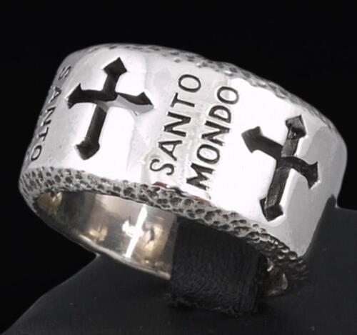 Pesado sólido Santo Mondo Santo Crucifijo Cruz del mundo 925 Sterling Silver Anillo para hombre