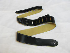 PERRI'S Tooled Soft Italian Leather black GUITAR strap NEW
