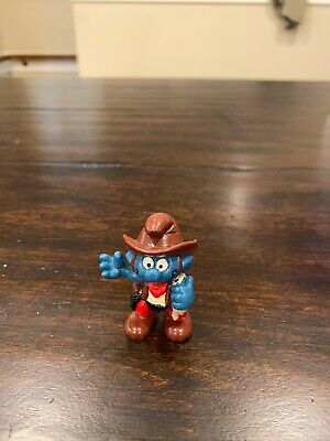Smurfs 20122 Cowboy Smurf Hat Boots Vintage 1981 Figure Peyo PVC Toy Figurine