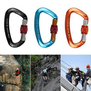 Carabiner D Shape 12KN Rock Climbing Buckle Security Safety Master Lock  //B3