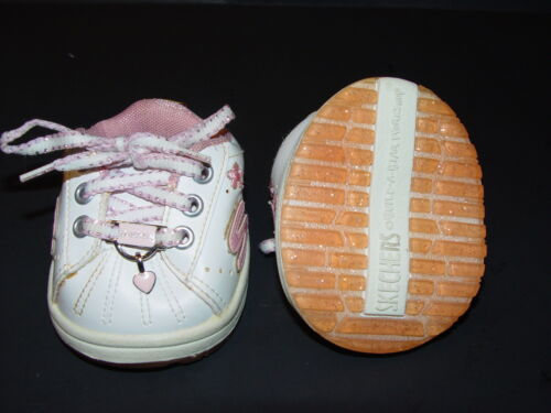 Build a Bear Clothing Sneakers Pink and White Skechers with Heart Charm