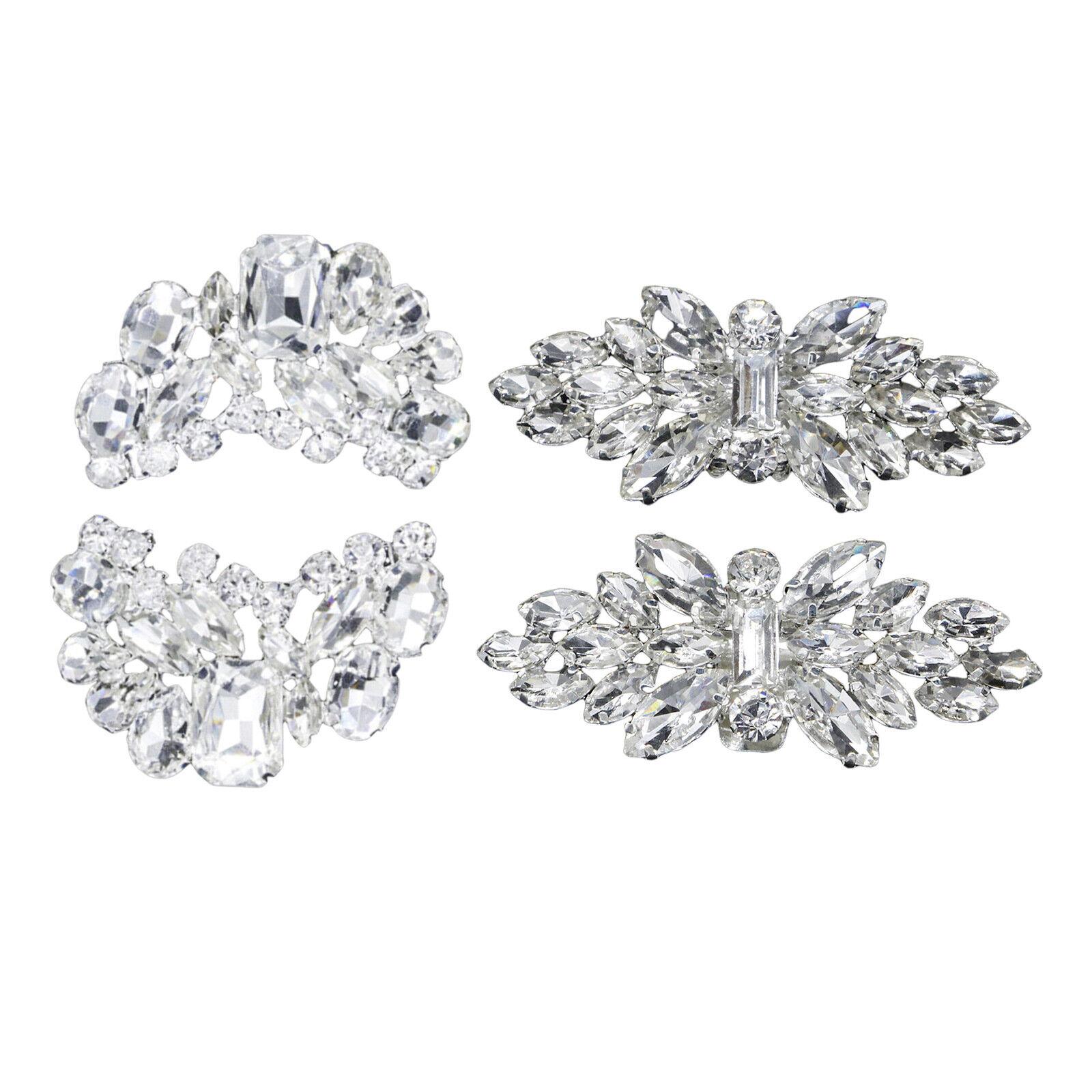 Pair Rhinestone Crystal Shoe Clips Women Wedding Boots Charms Jewelry Decor