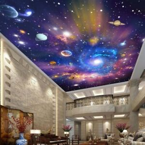 3d Galaxy Space Universe Mural Wallpaper Living Room Ceiling Lobby Wall Bedroom Ebay