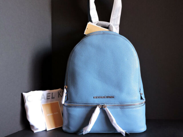 c3c59effca63 Michael Kors Authentic Rhea Zip Sky Blue Small Leather Backpack ...