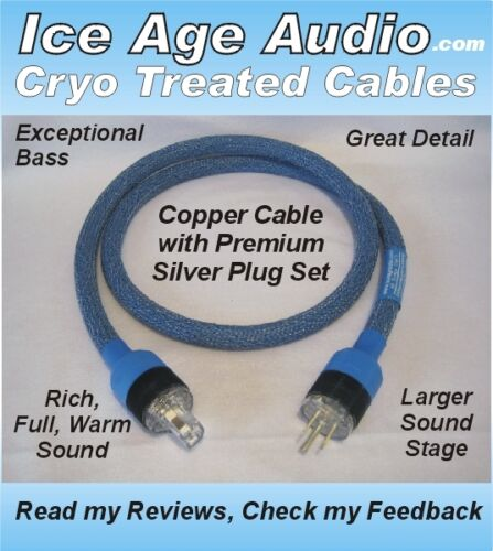 Audiophile Cable Silver IEC High End 5ft-10 Gauge Cryo Treated Power Cord