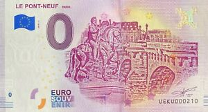 BILLET-0-EURO-PONT-NEUF-PARIS-FRANCE-2018-NUMERO-SUITE-210