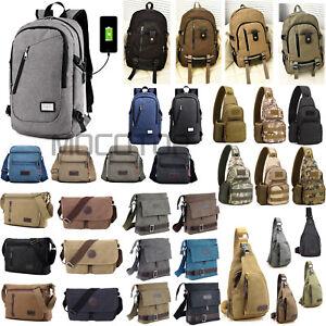 Men-039-s-Military-Canvas-Satchel-Shoulder-Bag-Messenger-Bag-Travel-Hiking-Backpack