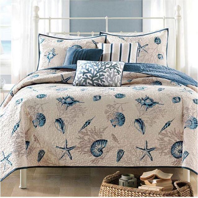 King Size Bedding Beach Theme Comforter Set Ocean Seashell Coastal Nautical Sea For Sale Online
