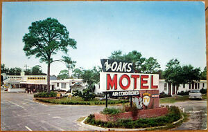 Image Is Loading 1950s Chrome Postcard 039 Oaks Motel Restaurant Amp