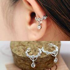 1 Silver Plated Clear Crystal Elegant Ear Cuff Clip Hook Wrap Earring Jewelry