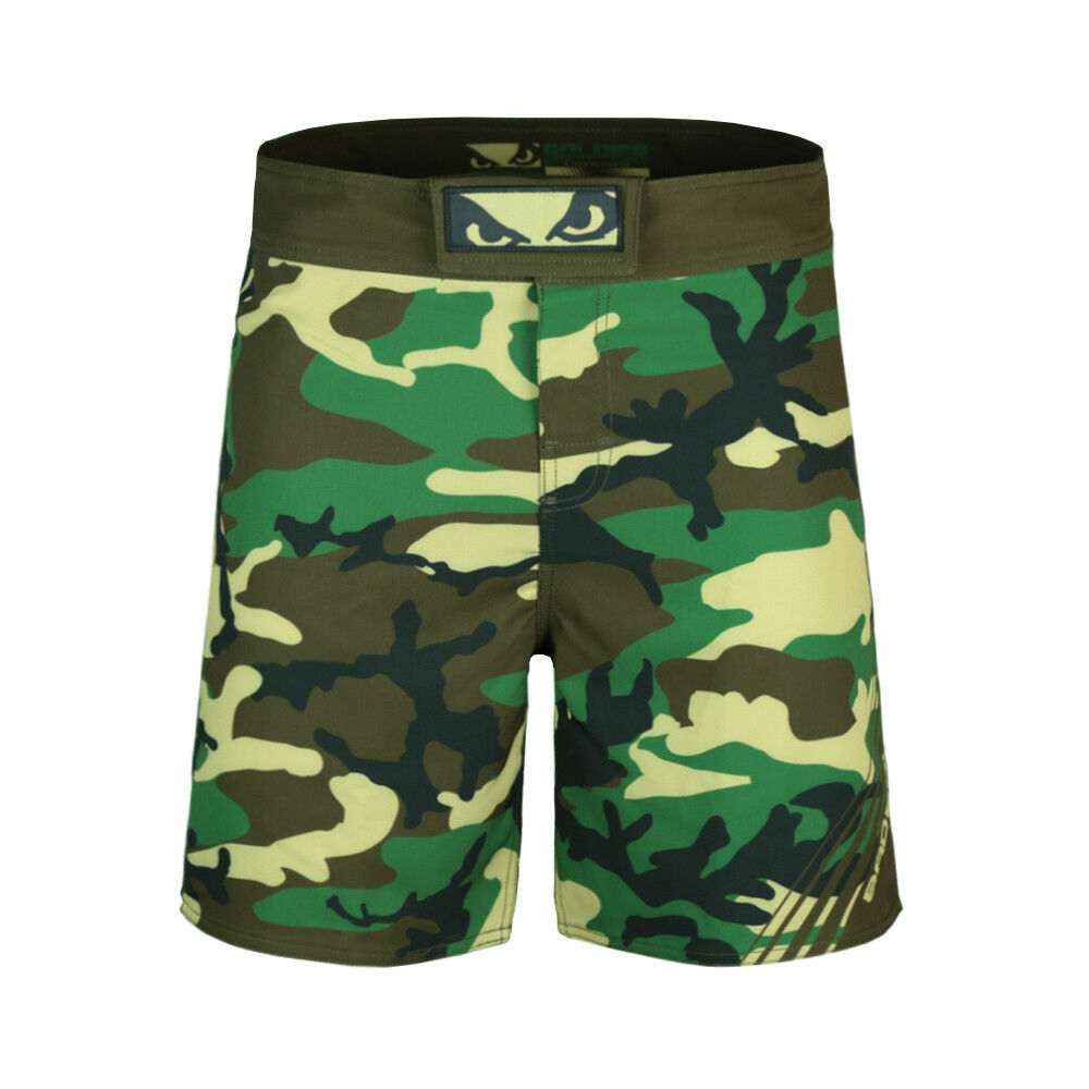 Bad Boy MMA Soldier Forest Green Camo Shorts Training Fight Gym UFC Martial Arts