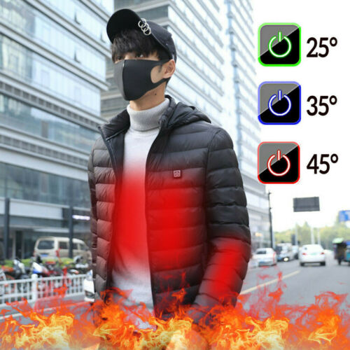 USB Electric Heated Coat Jacket Hooded Heating Vest Winter Thermal Warmer Men S