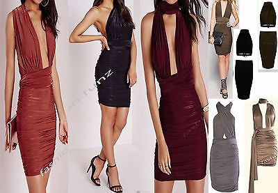 New Women Ladies Slinky Multiway Centre Ruched Gathered Party Dress Bodycon 8-14