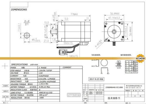 DE Free 3PCS Nema23 Closed Loop Schrittmotor 23SSM6440-EC1000 1.1Nm 4A Encoder