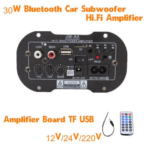 30W Bluetooth Car SUV Subwoofer Hi-Fi Bass Amplifier Support AUX TF Card 12V//24V