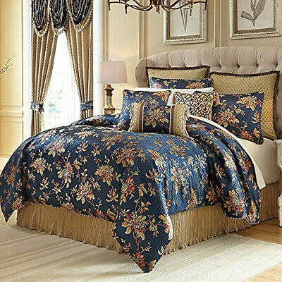 Luxurious Silky Gold Blue Jacquard Floral 4 pcs Cal King Queen