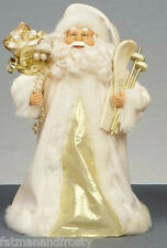 Father Christmas Tree Topper Santa Claus Tree Topper Gold & Ivory with Skis