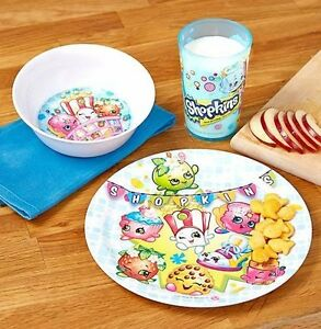 Image is loading 3-Piece-Kids-Dinnerware-Set-Bowl-Cup-Plate-  sc 1 st  eBay & 3 Piece Kids Dinnerware Set Bowl Cup Plate Dish Shopkins NEW | eBay