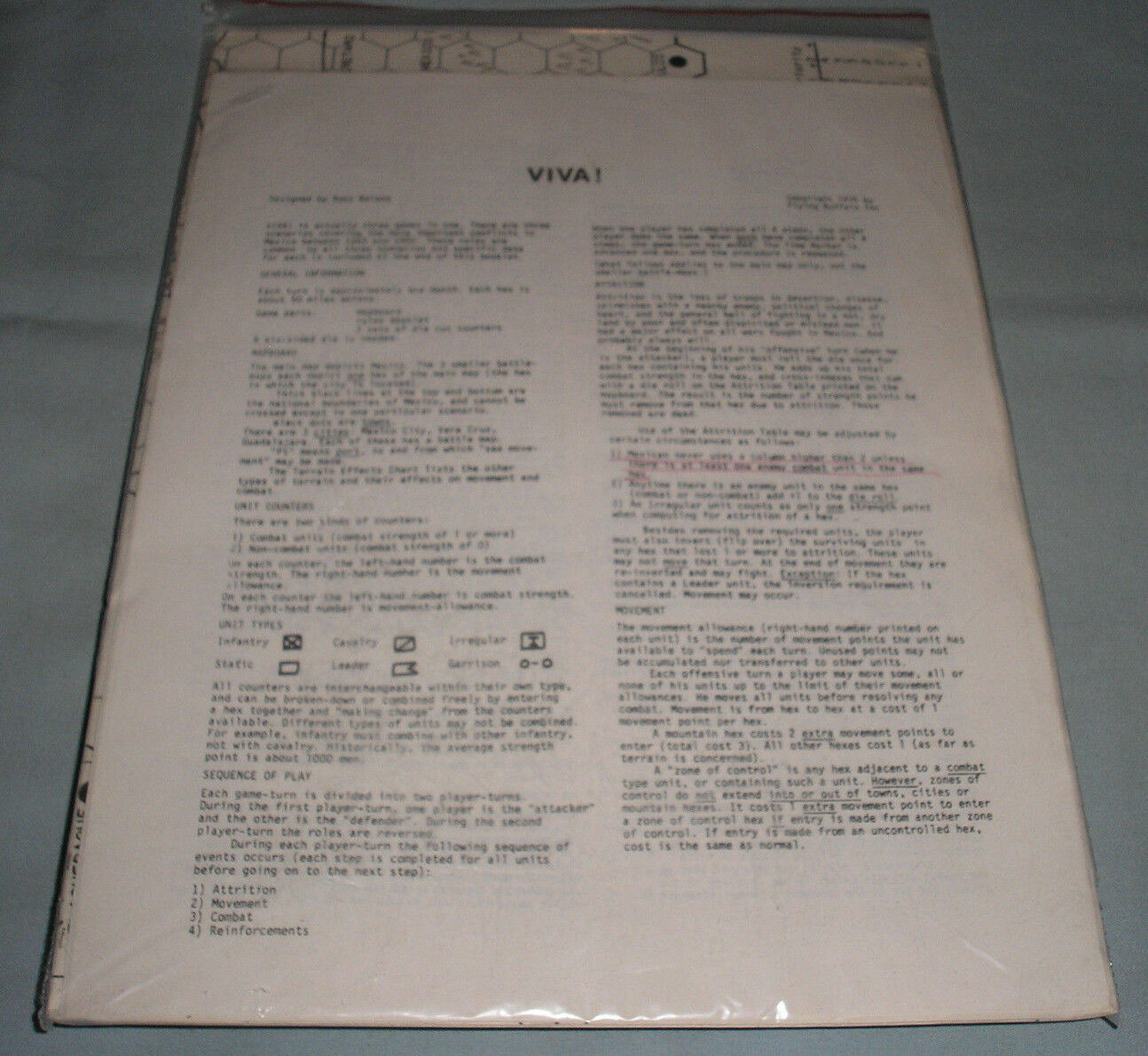 Viva  - 1975 Strategy Combat Game by Russ Beland Flying Buffalo - Rare Complete