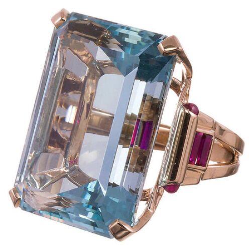 Women Aquamarine Gemstone Rose Gold Filled Fashion Wedding Band Ring Jewelry