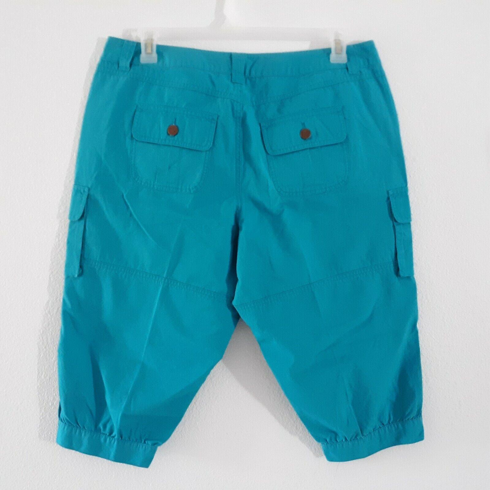 Venezia Turquoise Blue Cargo Capri Pants Women's … - image 2