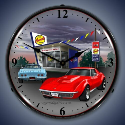 New 1968 Chevrolet Corvette /& old used car lot LIGHT UP clock Free Fast Ship