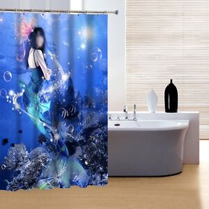 Mermaid underwater ocean shower curtain bathroom decor ebay for Mermaid bathroom decor vintage