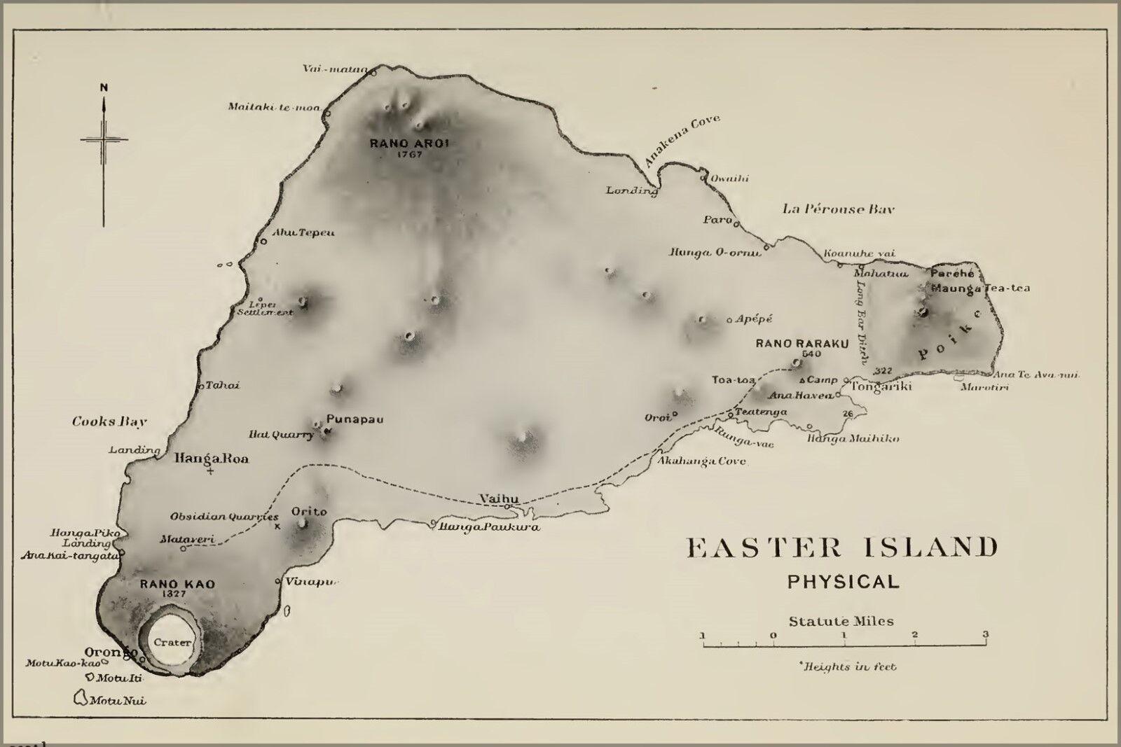 Poster, Molte Misure; Isola di Pasqua Fisica Mappa 1920