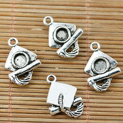 14pcs Tibetan silver GRADUATION CAP /& DIPLOMA charms EF1887