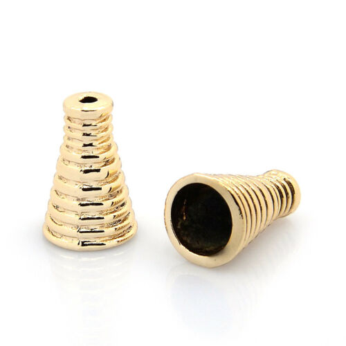 10pcs Unfading Alloy Grooved Bead Caps Apetalous Bead Cones Nickel Free 16x10mm