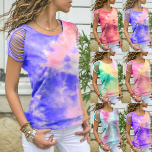 Womens-Gradient-Short-Sleeve-Loose-T-Shirt-Ladies-Summer-Crew-Neck-Tops-Blouse