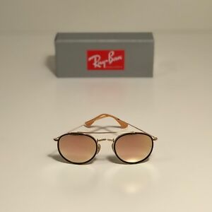 207d08d068 New Ray-Ban Round Double Bridge Gold RB3647N 001 7O 51-22 Copper ...