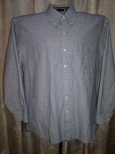Marquis-Men-039-s-L-L-S-Button-Up-Shirt-Light-Blue-amp-Black-Micro-Check-Locate-A-1