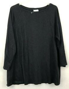 NEW-J-JILL-1X-2X-3X-4X-Seamed-Boat-neck-Tee-3-4-Slv-Top-Shirt-Cotton-Modal-Black