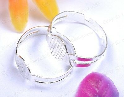 Silver/Gold Plated Adjustable Round Ring Blank Pad Base Jewelry Make Findings