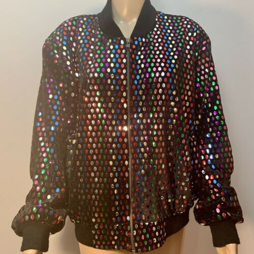 Vintage 1980's Colorful Sequins Disco Black Oversi