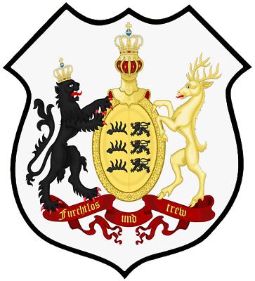 Gastfreundlich Wappen Des Königreichs Württemberg Breite Ca. 27cm Höhe Ca.24 Cm Rückenaufnäher