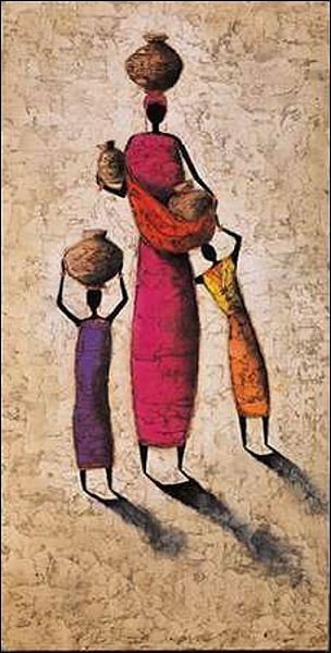 Michel Rauscher  Family Harmony Keilrahmen-Bild Leinwand Afrika Familie